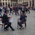 Prime Minister gave an interview to a press at Grand Place square.