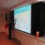 Student of St.Joseph School volunteered to point locations of Belgium and Thailand