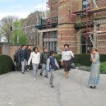 Students arriving at the school