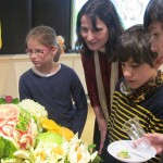 Students of St. Joseph School were interested in carving vegetables and fruits