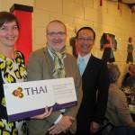Ambassador Apichart, Katrien Depauw and Richard Werly, winner of the lucky draw